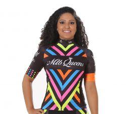 Camisa Ciclismo Feminina Listras Preto