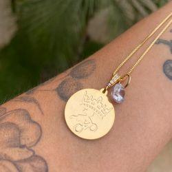 Medalha + Corrente Mtb Queens Semijoia  Dourado
